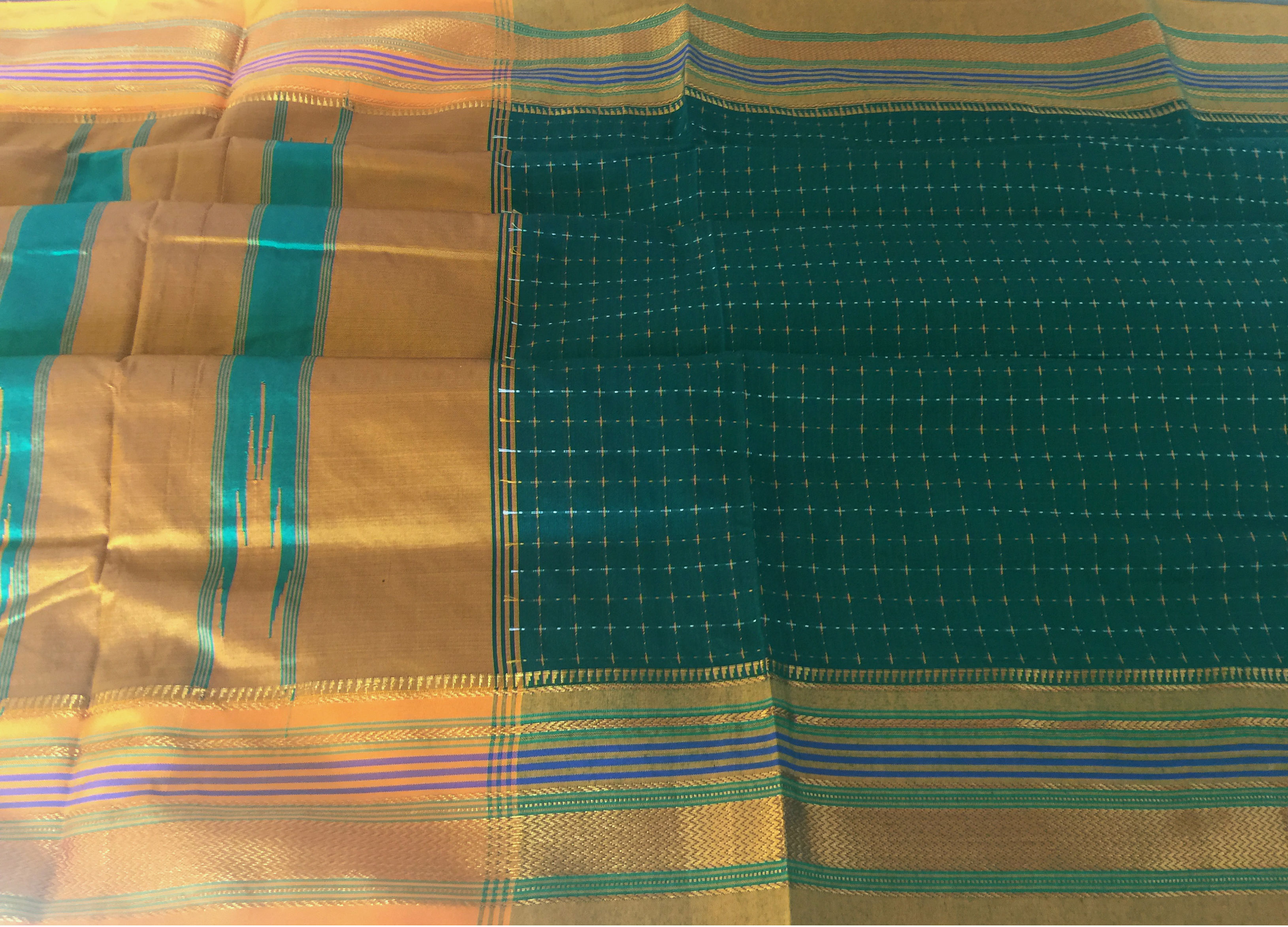 Ilkal Green and Yellow Checked Saree