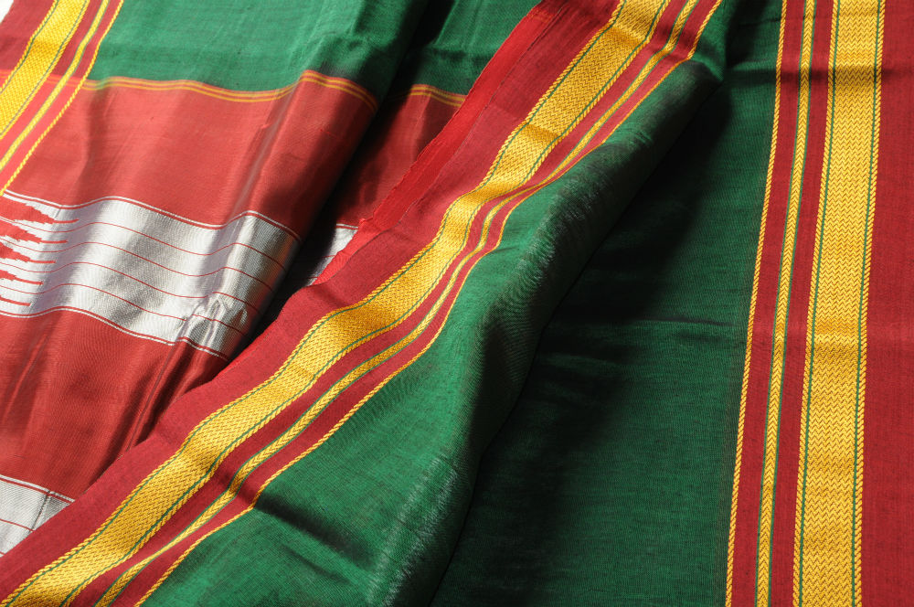 Sale! Ilkal Saree Green with Red Border