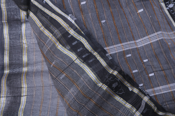 Jamdani handloom sari black pinstripes w/brown