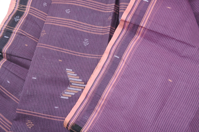 Jamdani handloom sari grape pinstripes with peach