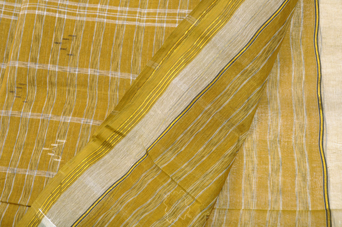 Jamdani handloom sari henna heather stripes