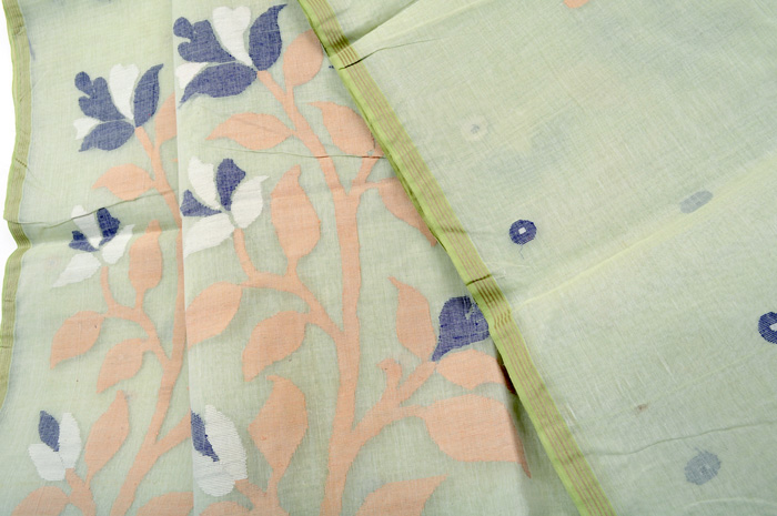 Jamdani handloom sari light lime