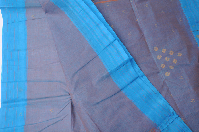 Jamdani handloom sari mauve blue shot with sky