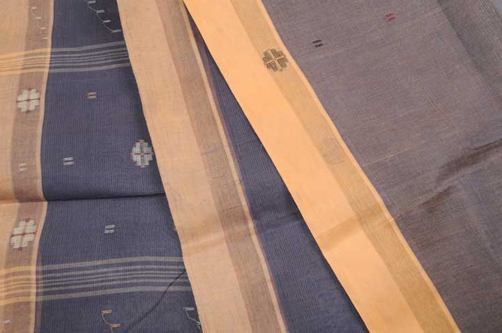 Jamdani handloom midnight blue ochre heather