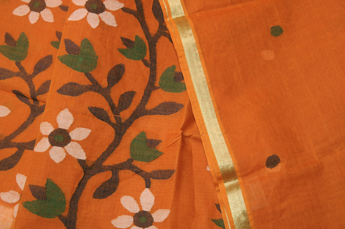 Jamdani handloom sari orange flowers