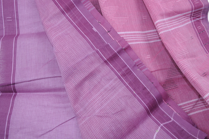 Jamdani handloom sari purple berry pinstripes