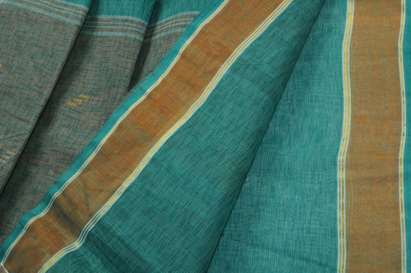 Sale! Jamdani handloom teal copper