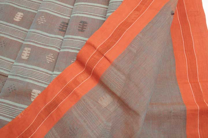 Jamdani handloom teal/red shot orange