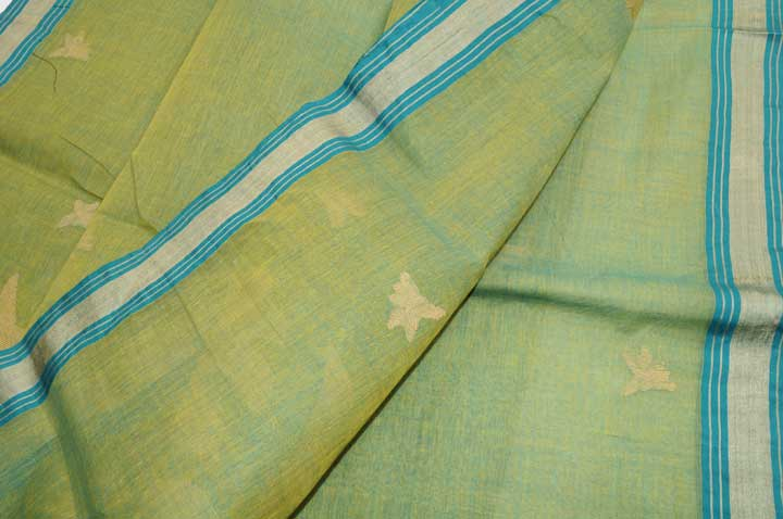 Fine Jamdani handloom yellow teal shot