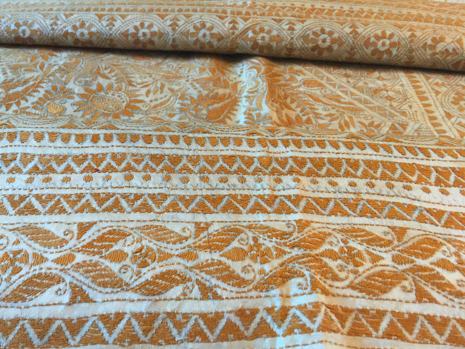 Kantha Natural Silk with Mustard Embroidery