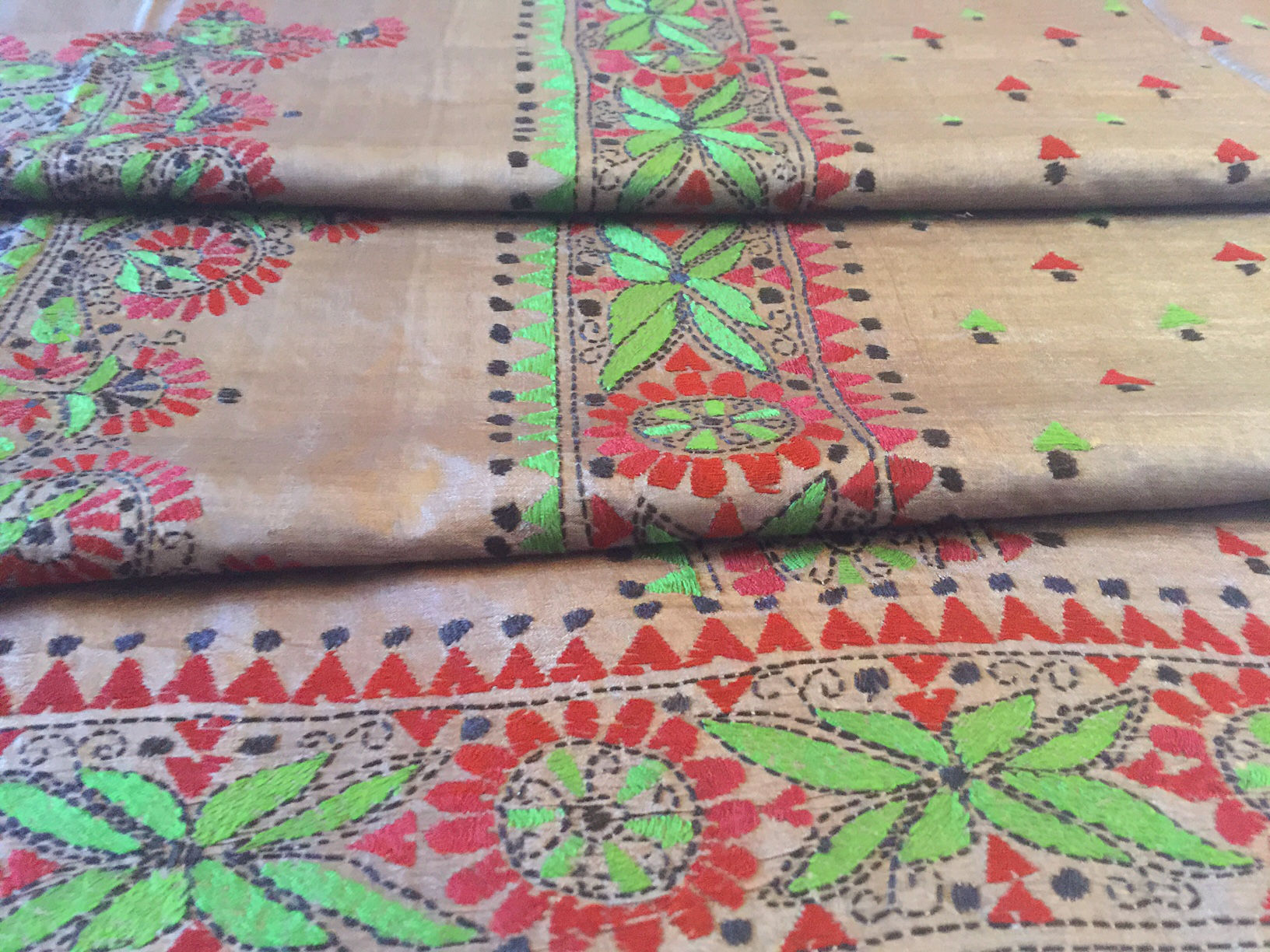 Kantha Grey Silk with Green and Red Embroidery
