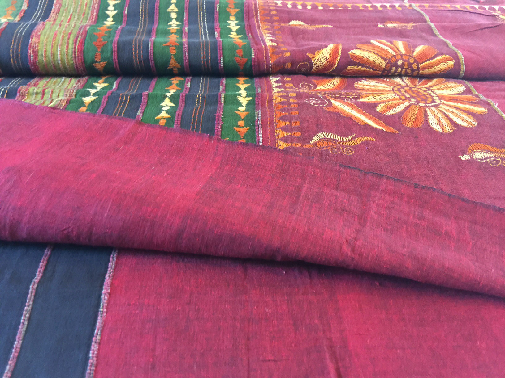 Kantha Khesh Partly Pallu Maroon Cotton Saree