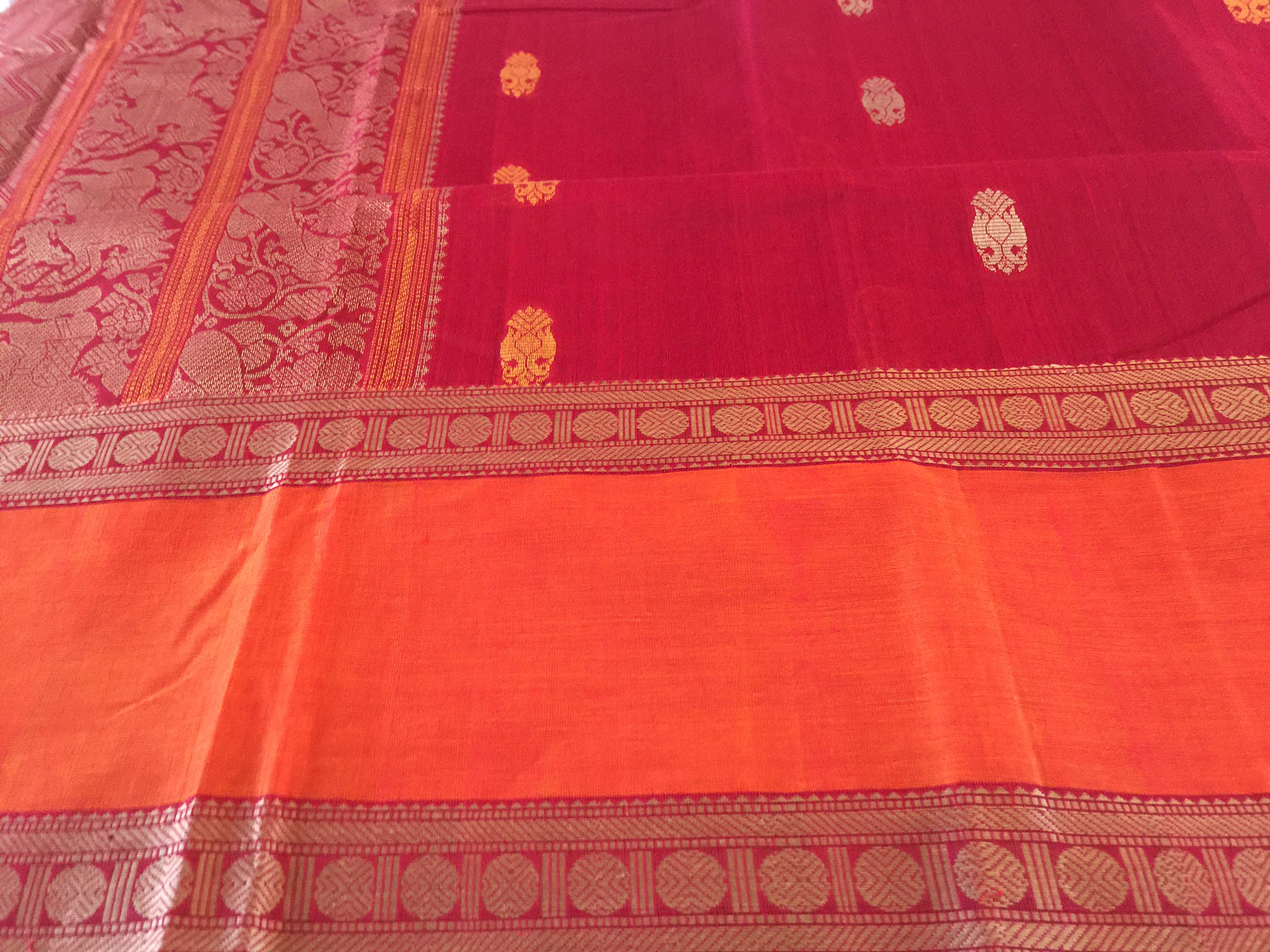 Kanchipuram Collectible Chola Cotton Red and Orange