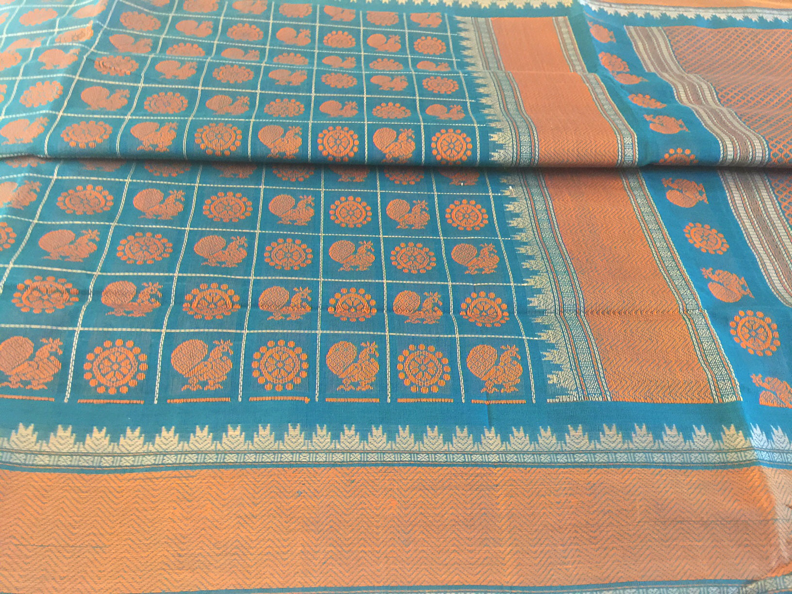 Kanchipuram Ayiram Butta Blue and Orange