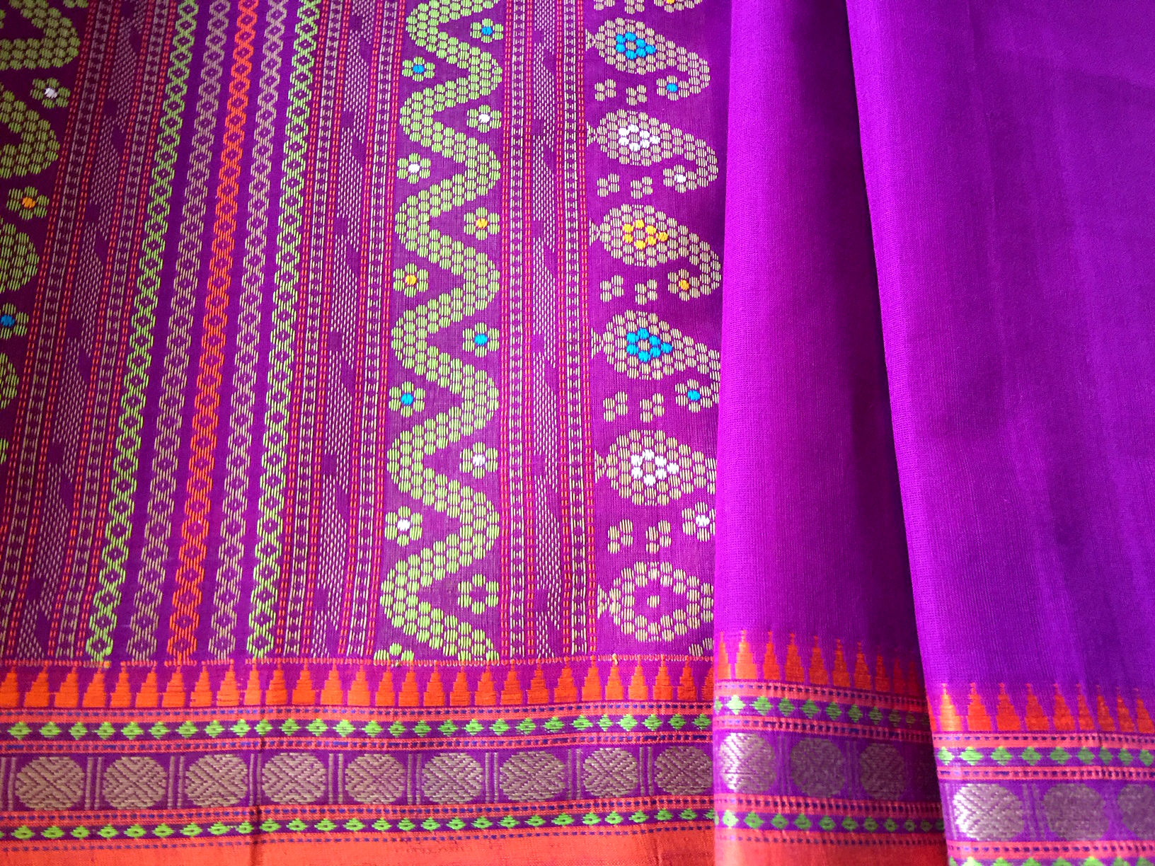 Kanchipuram Collectible Chola Cotton Purple-Orange