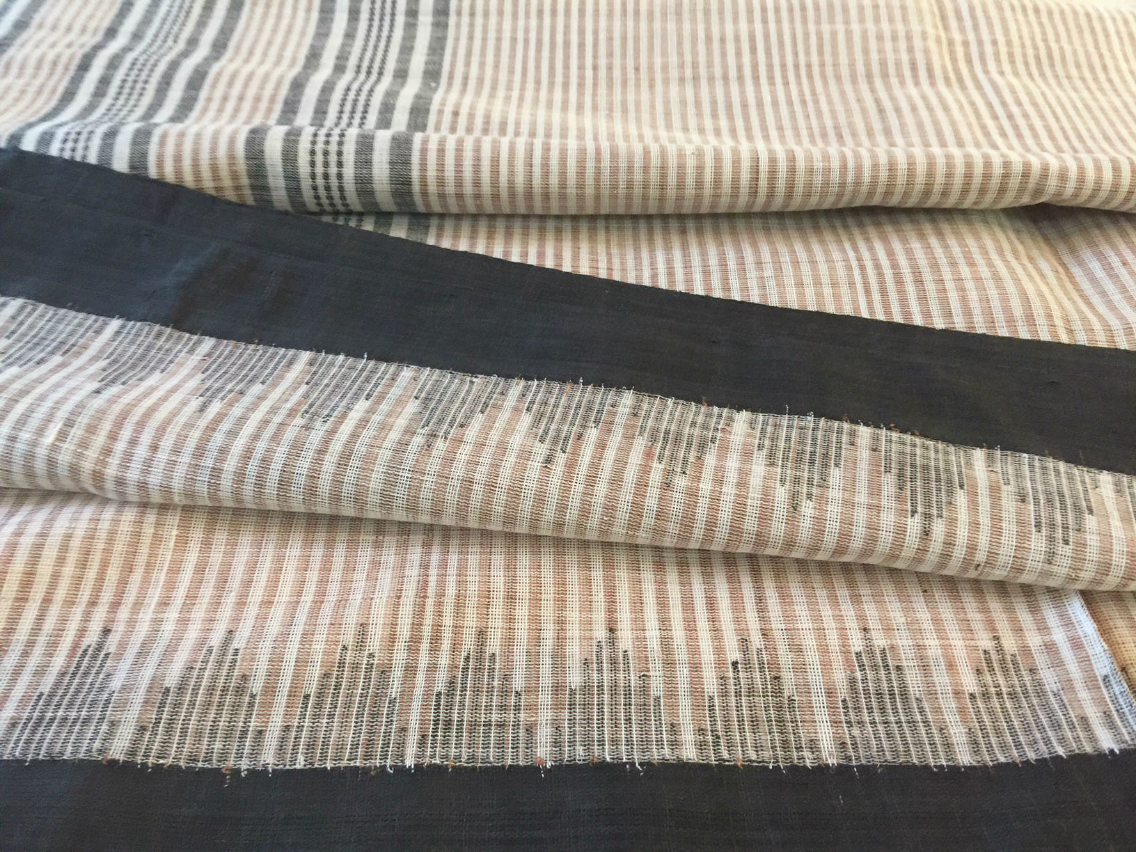 Ponduru Khadi Natural with Brown Stripes