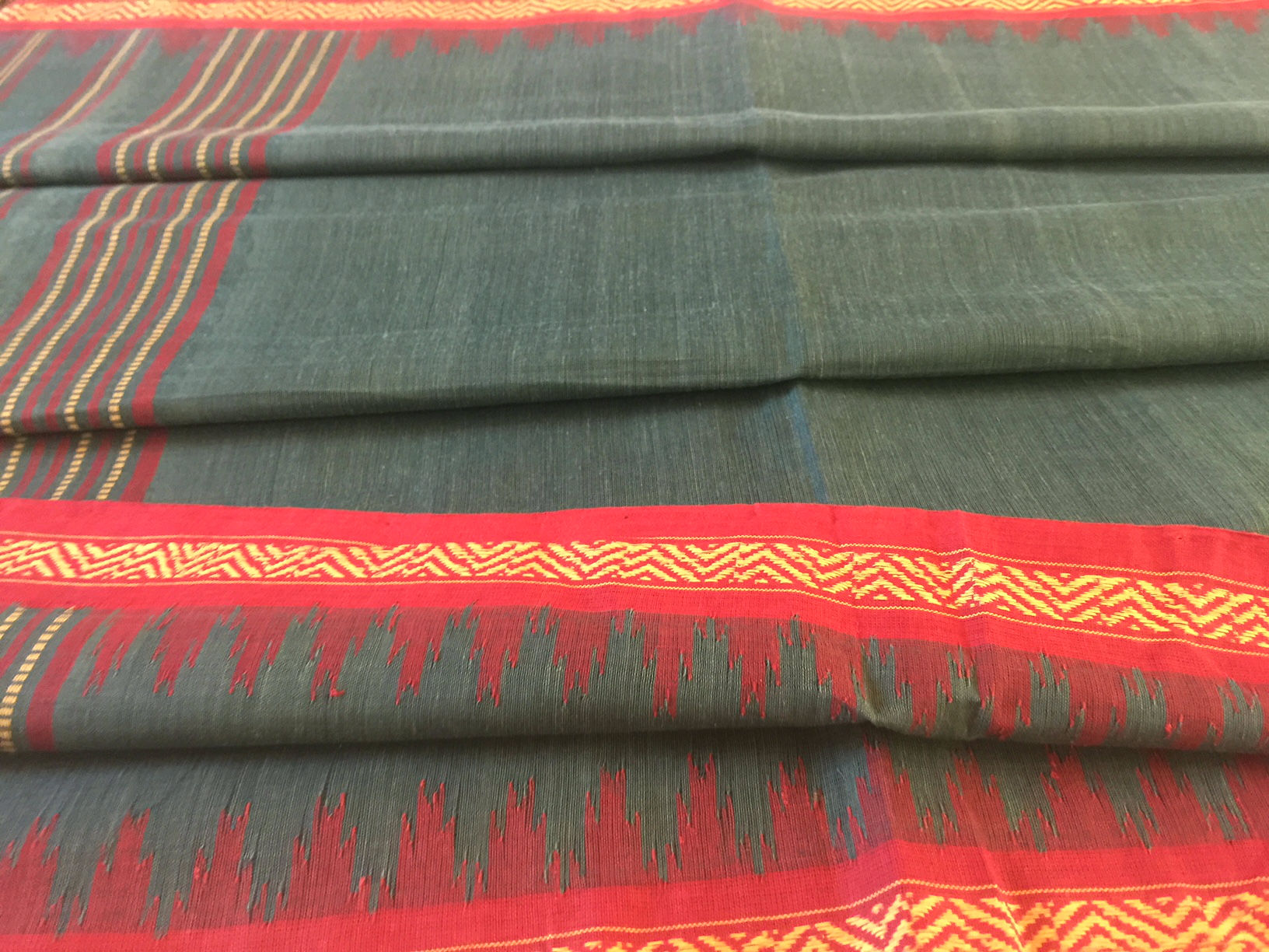 Ponduru Khadi Teal with Red