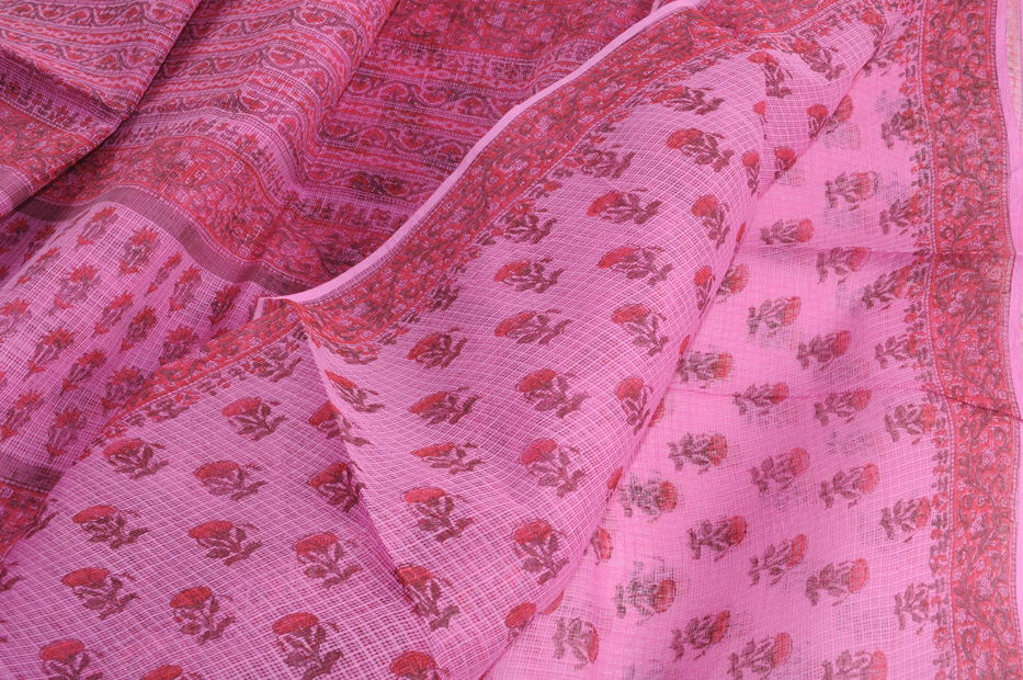 Kota bagru print pink with red poppies