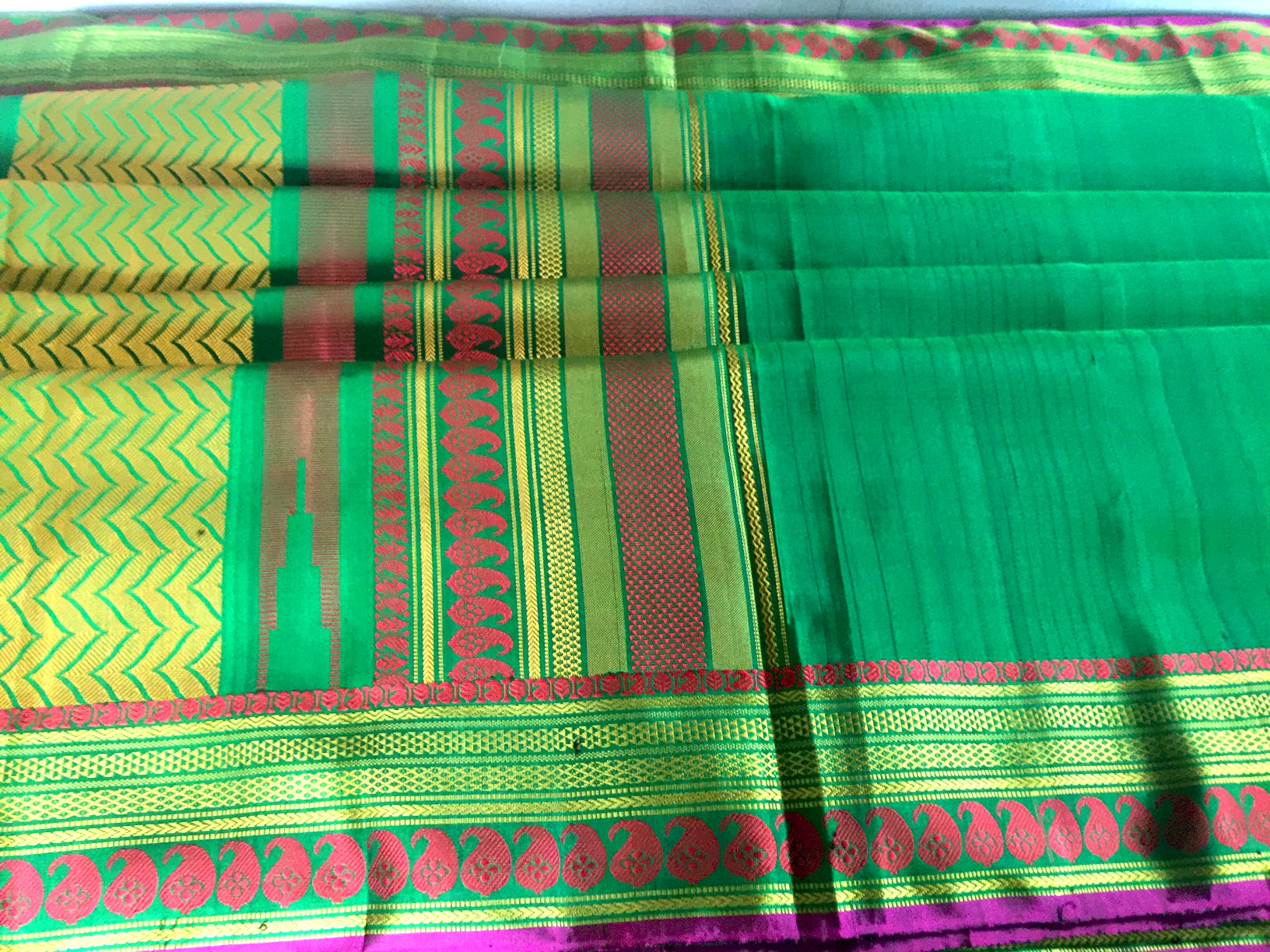 Emerald Green Kanchi Silk with Red and Yellow Threadwork