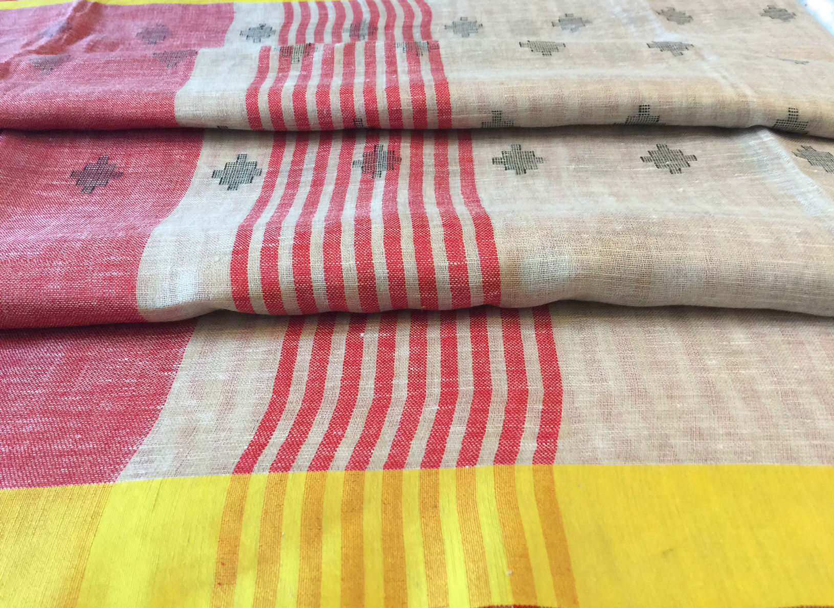 Linen Natural with Yellow and Red Border