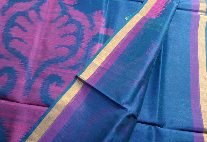 Sale! 50% Off! Linen Silk blend sari royal violet