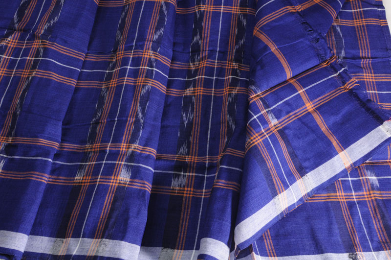 Sale! 20 % Off! Orissa Ikat Lunghi Cobalt Orange Check