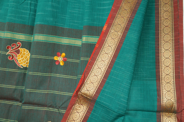 Madurai saree with embroidery teal red