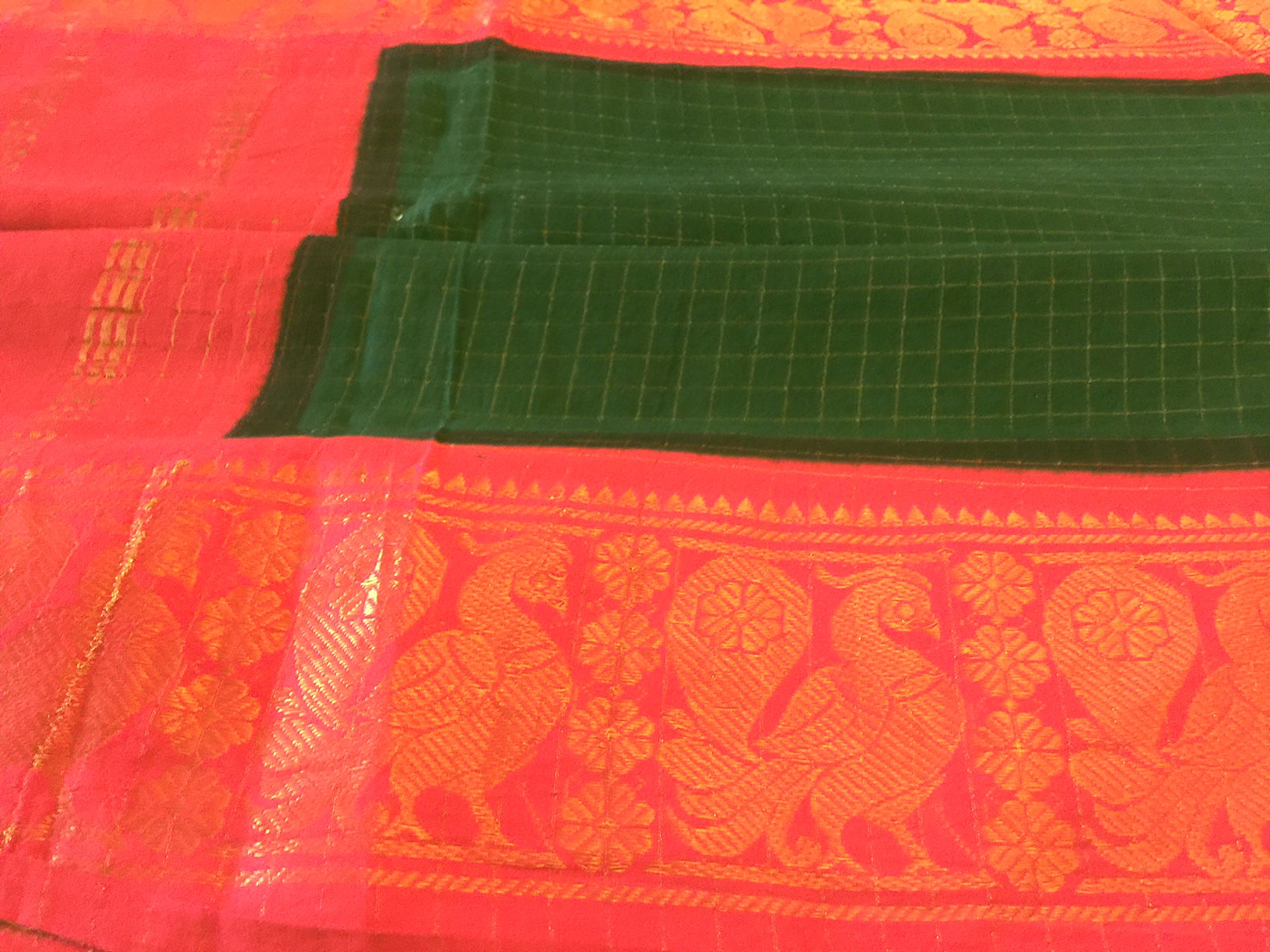 Madurai Cotton Green and Orange