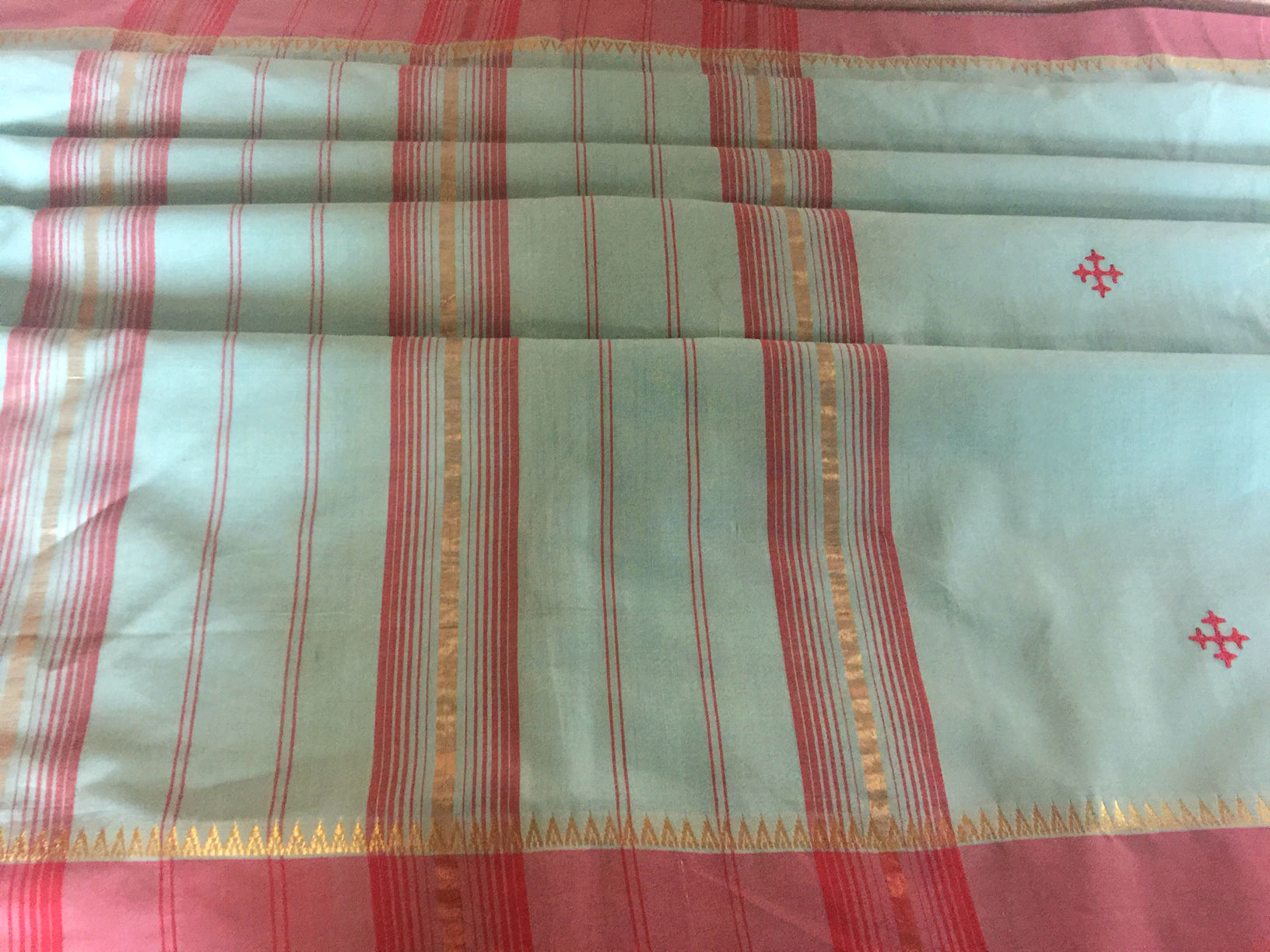 Mangalagiri Aqua Coral with Embroidery