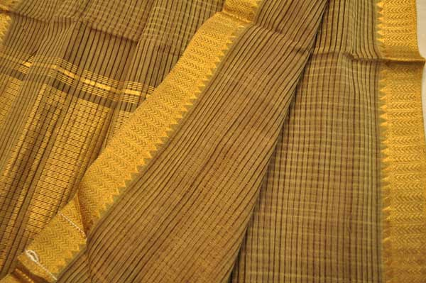 Sale! 20% Off! Mangalagiri handloom fern brown shot pinstripe