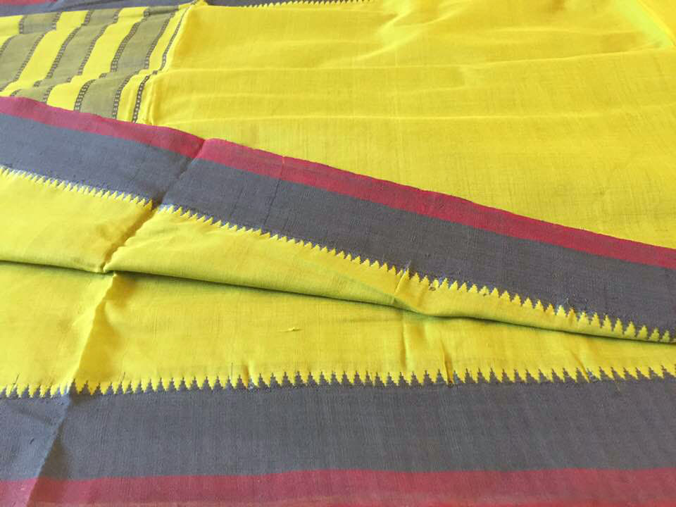 Sale! 20% Off! Mangalagiri Lime and Navy Cotton