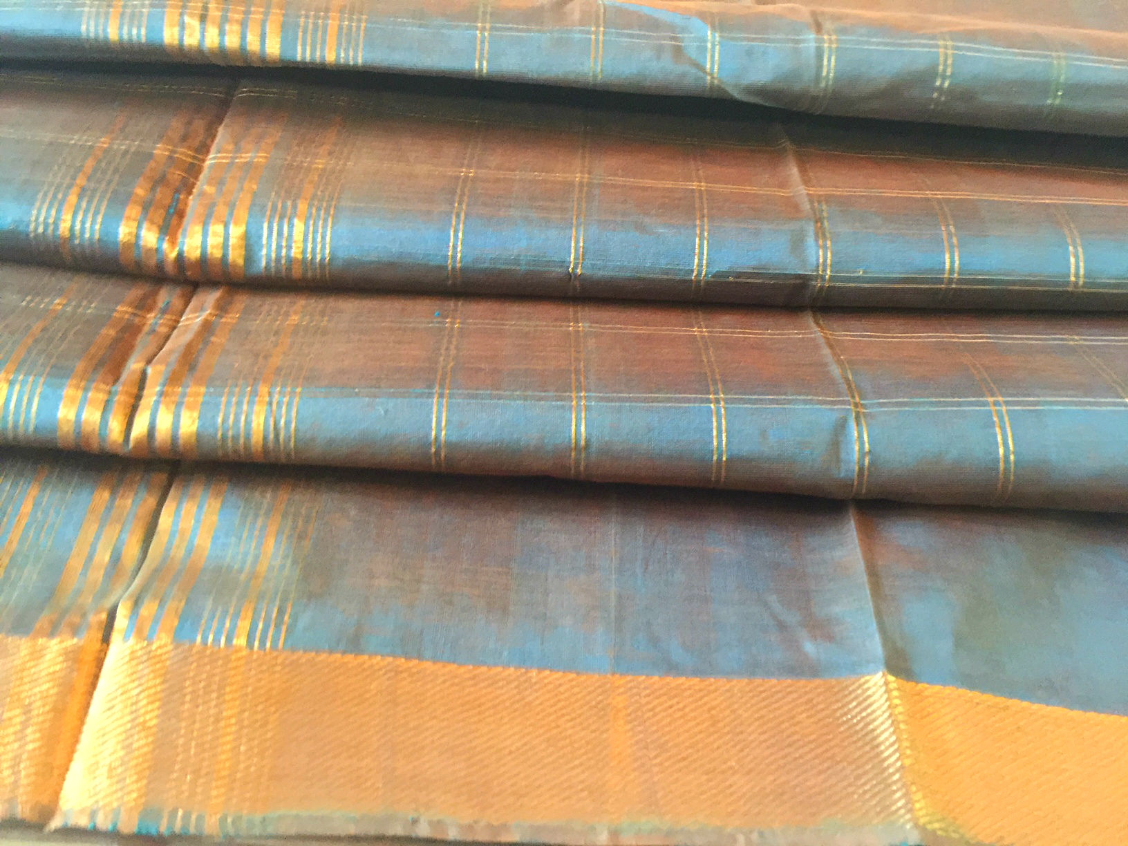 Mangalagiri Shot Blue in Silk Cotton