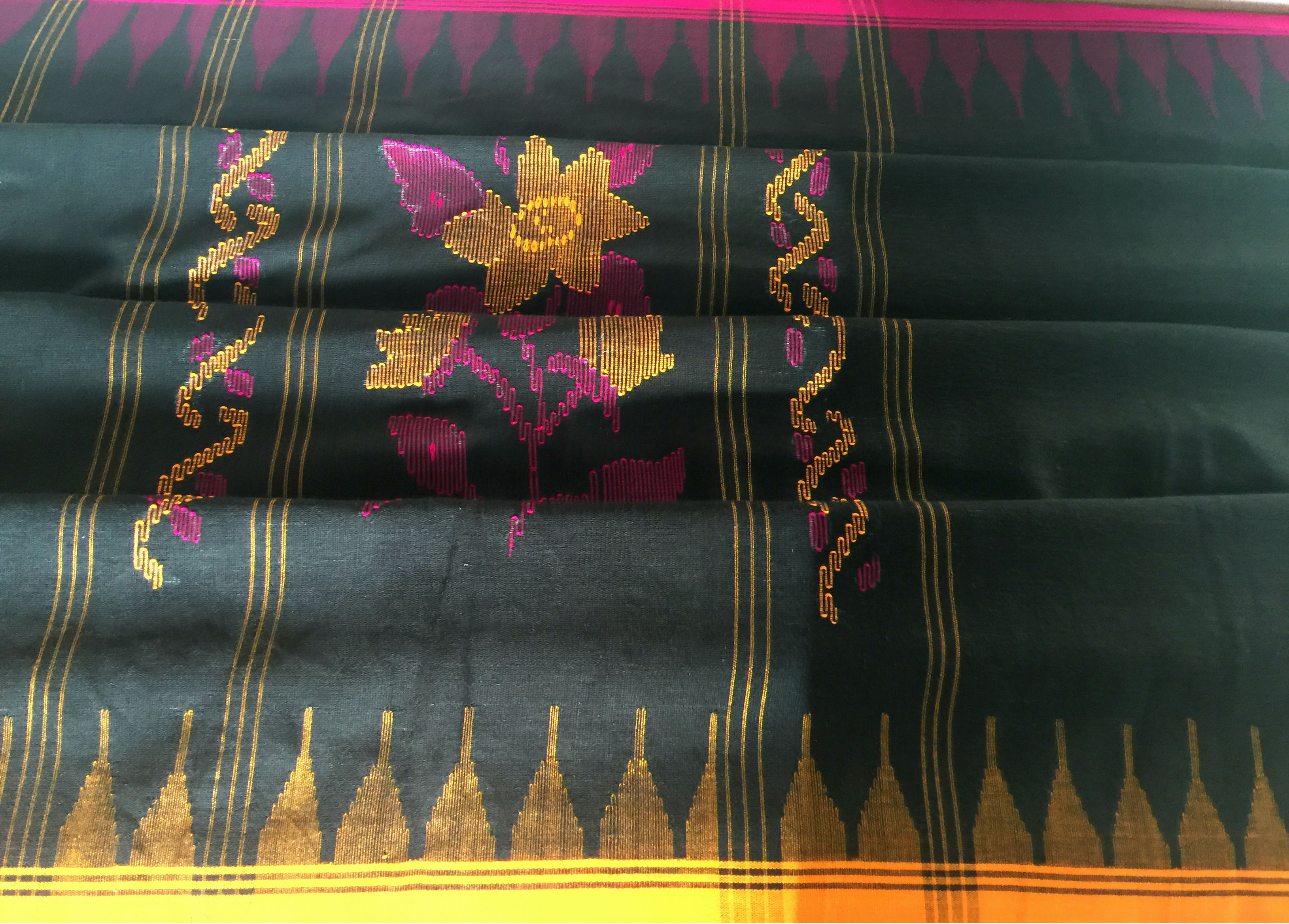 Manipur Black with Yellow and Majenta Borders
