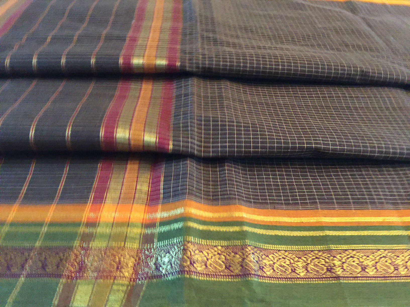 Narayanpet Black and Green Checked Saree