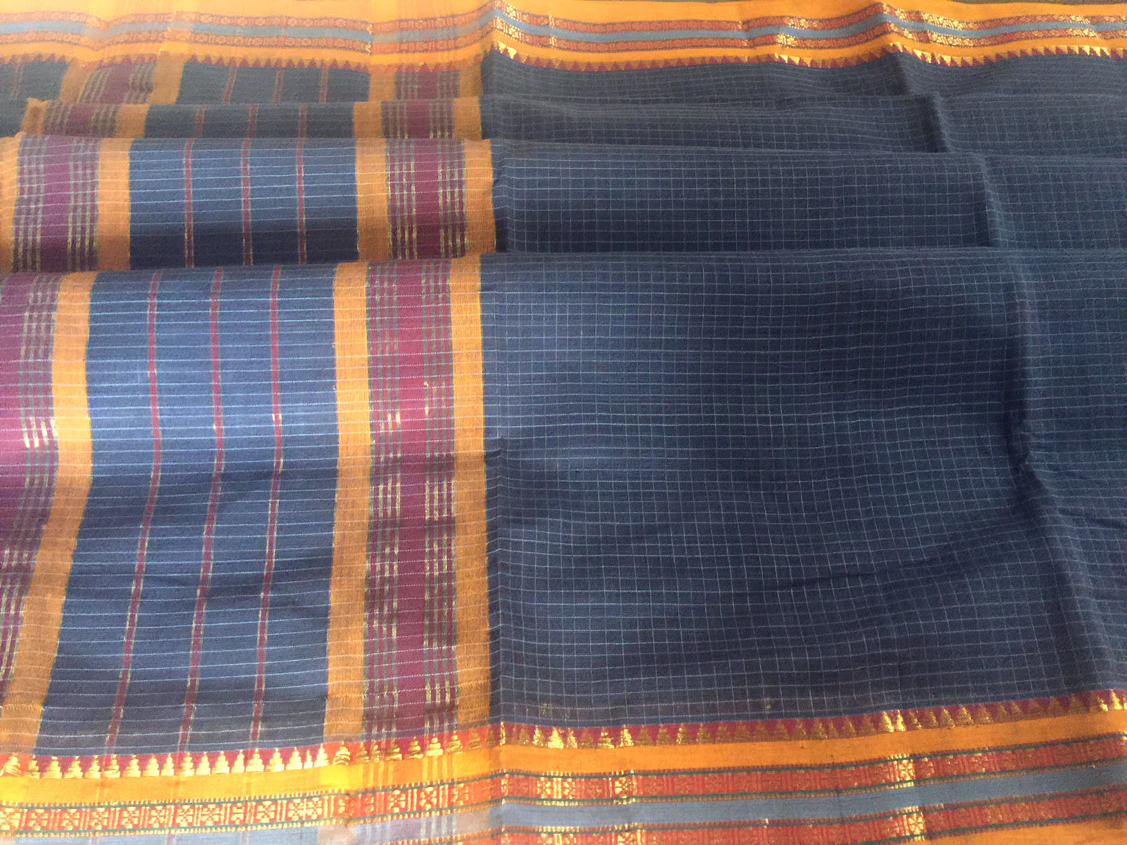 Narayanpet Blue and Mustard Checkered Saree
