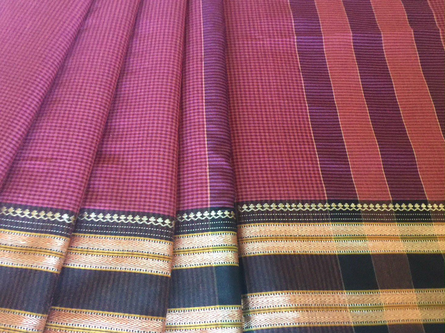 Narayanpet Cranberry with Black Traditional Border