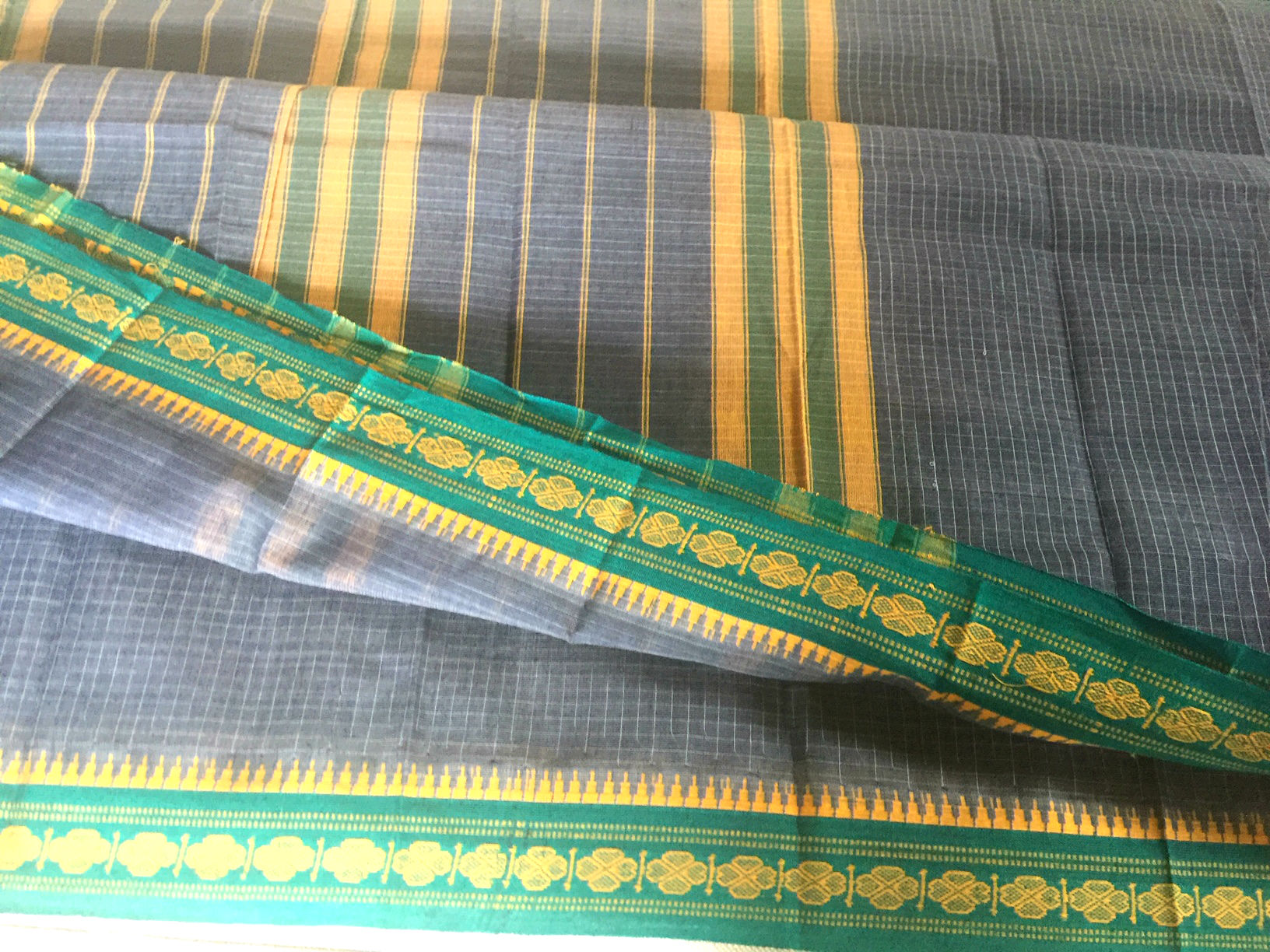 Narayanpet Grey with Green Cotton
