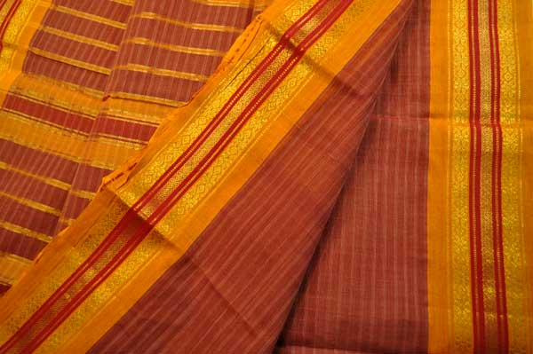 Narayanpet maroon check orange