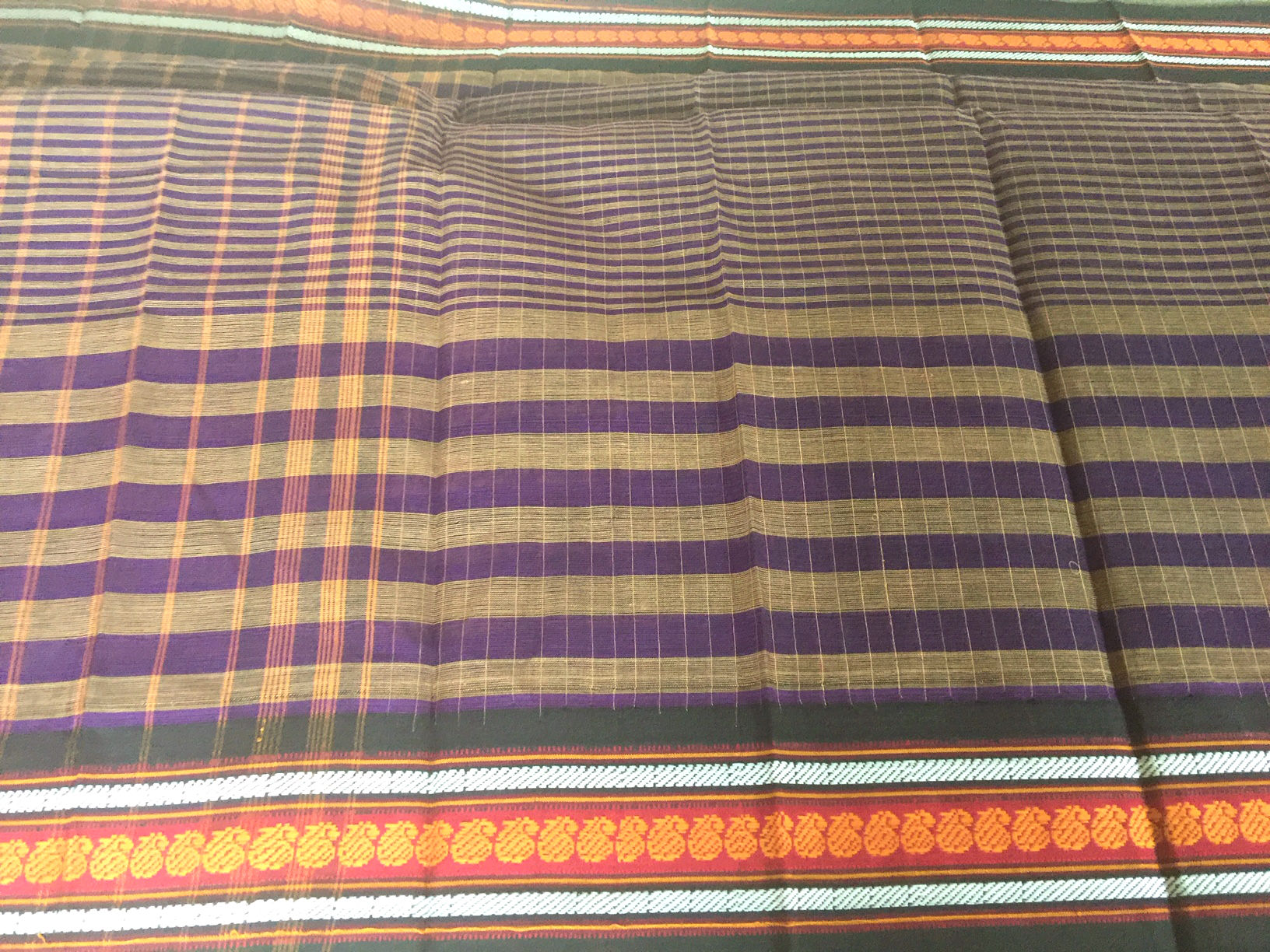 Narayanpet Purple with Orange Cotton