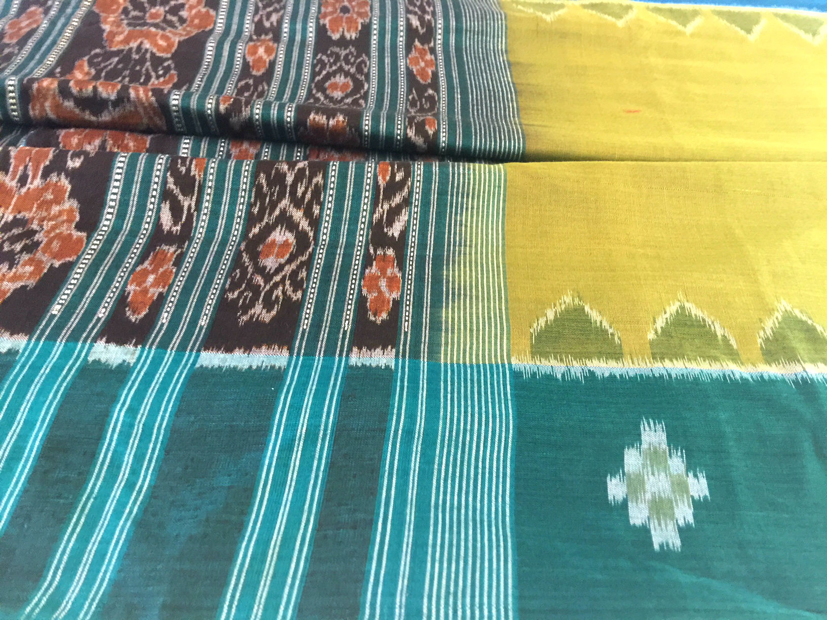 Orissa Ikat Lime and Blue
