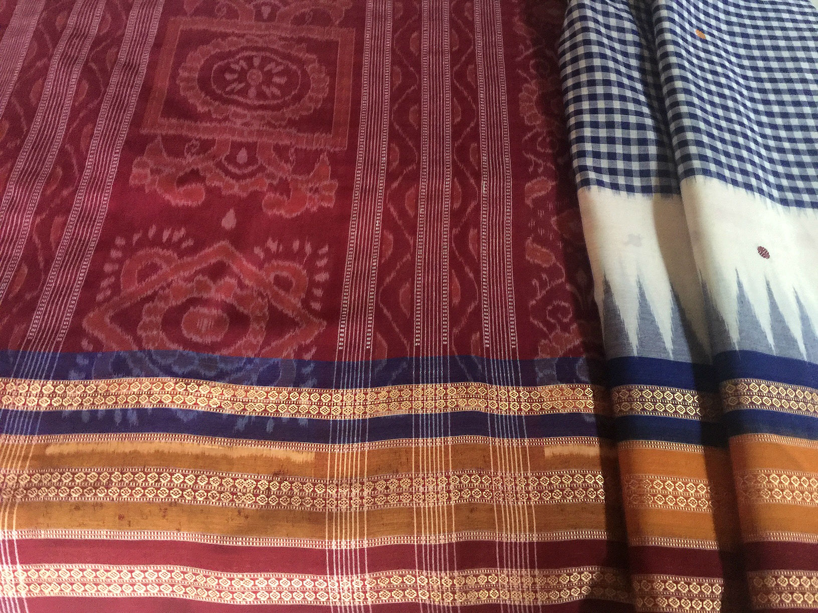 Orissa Ikat with Gingham Pattern