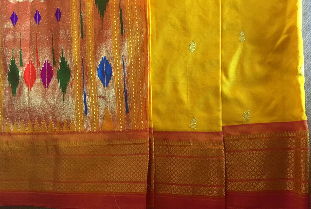 Paithani Golden Yellow Pink Silk Saree