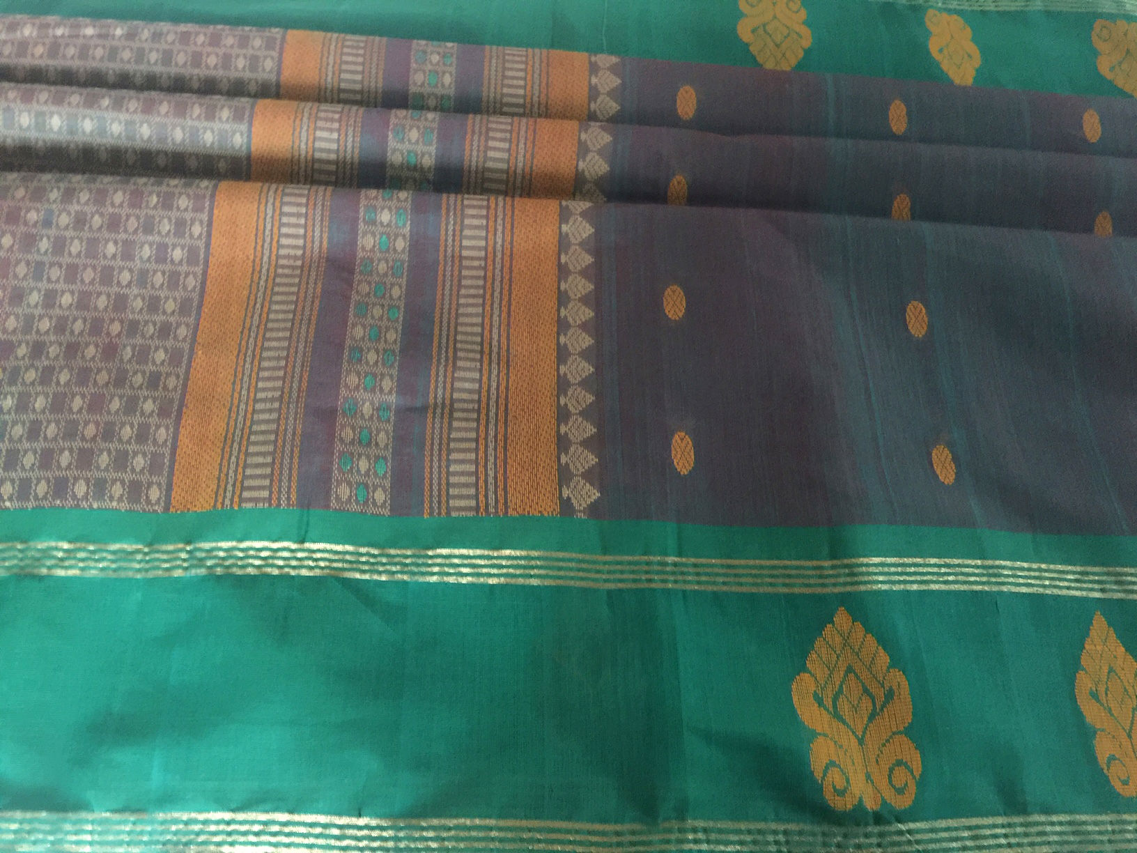 Paramakudi Grey Shot with Teal Cotton
