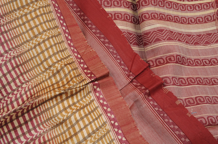 Pashmina printed sari earthy matrix