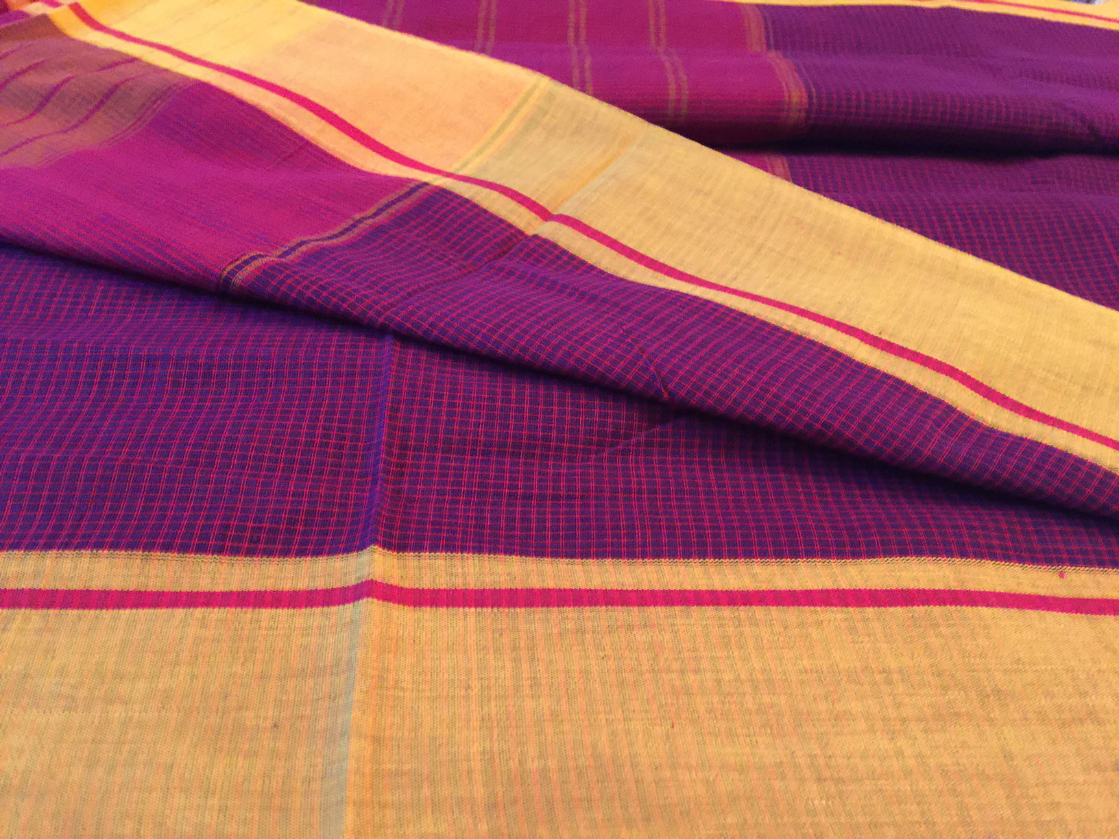 Patte Anchu Purple with Mustard Borders