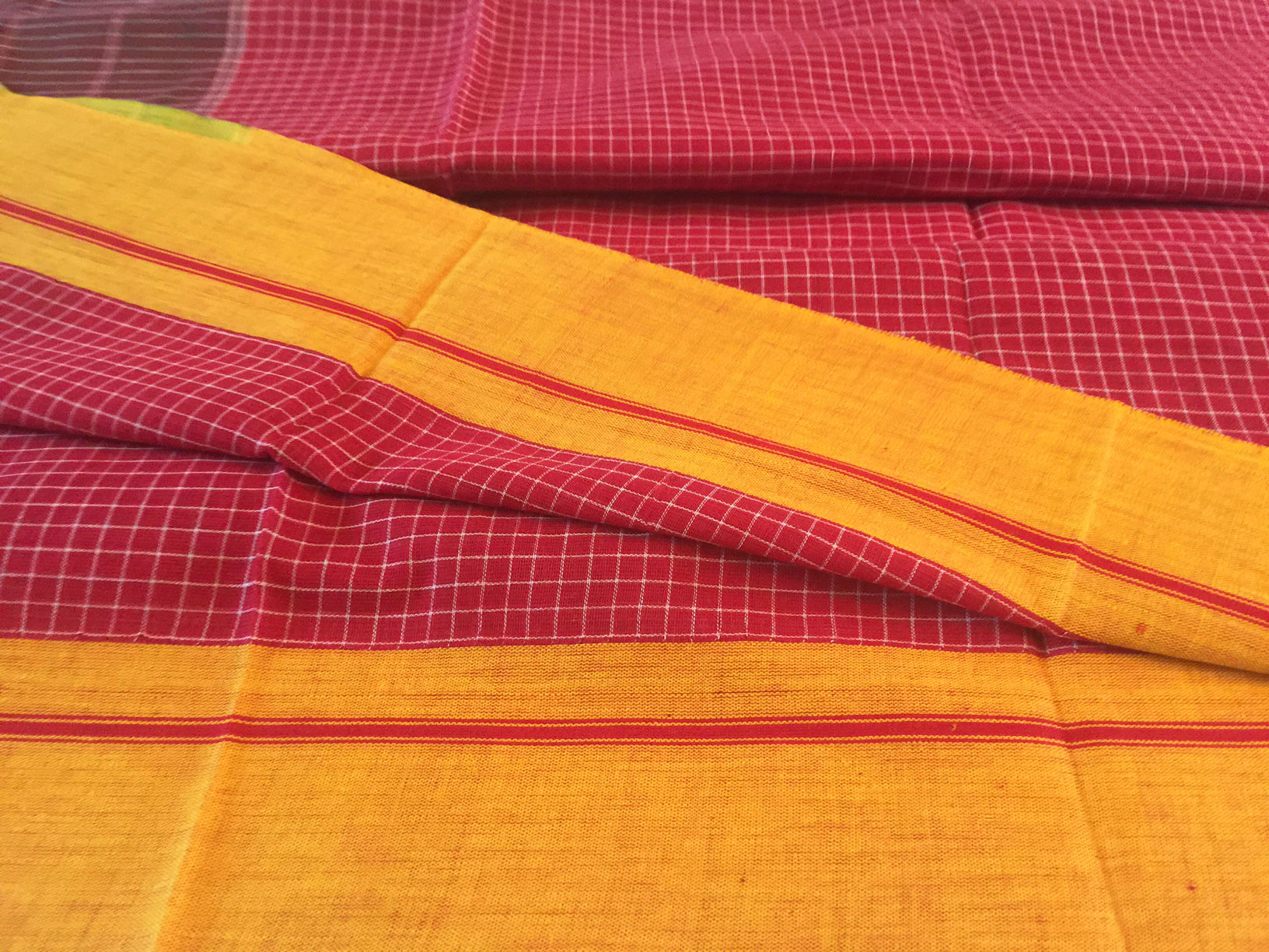 Patte Anchu Red with Mustard Borders