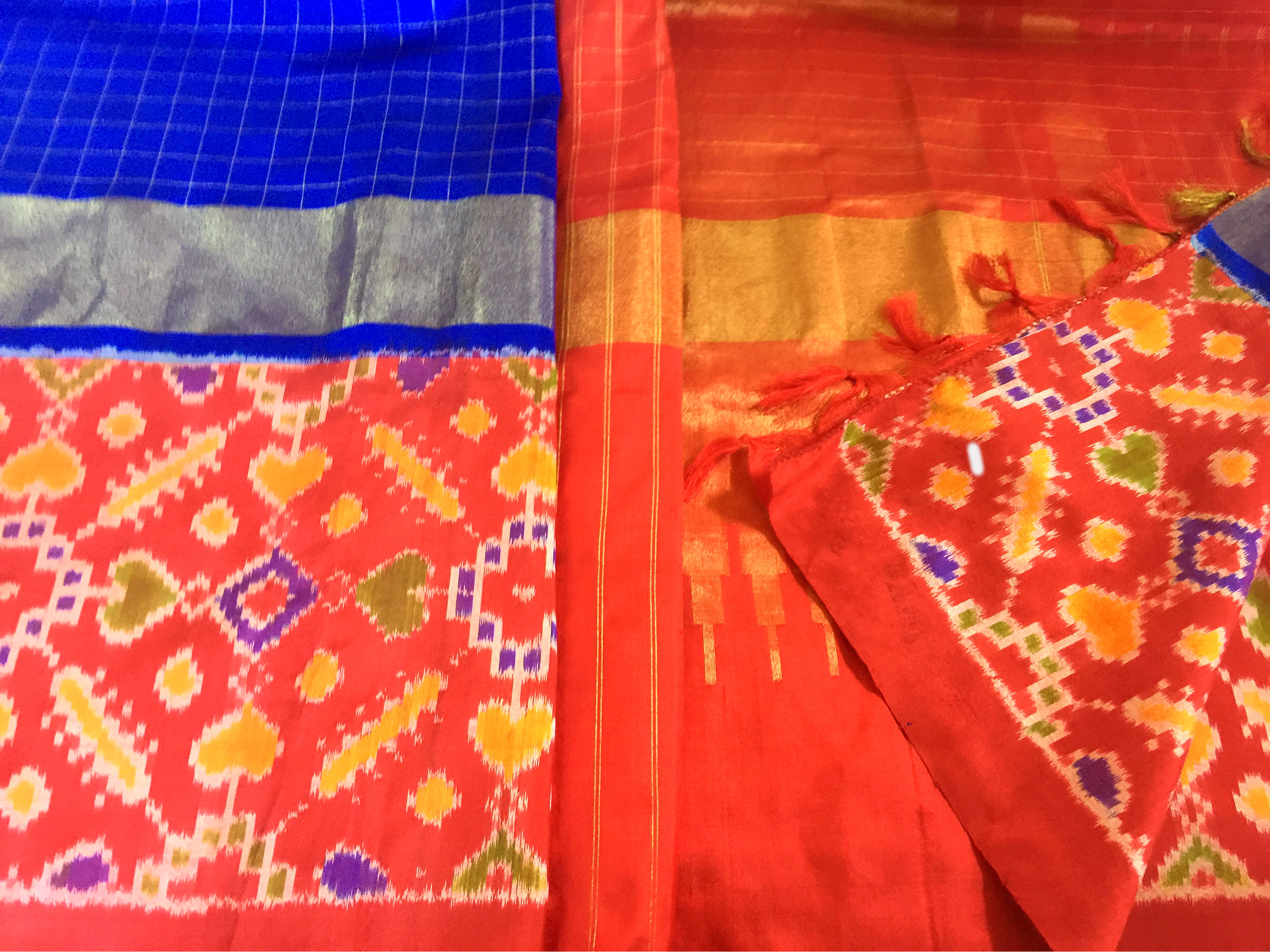 Pochampalli Silk Cobalt Blue and Red with Zari