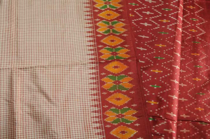 Pochampalli silk cream checks red