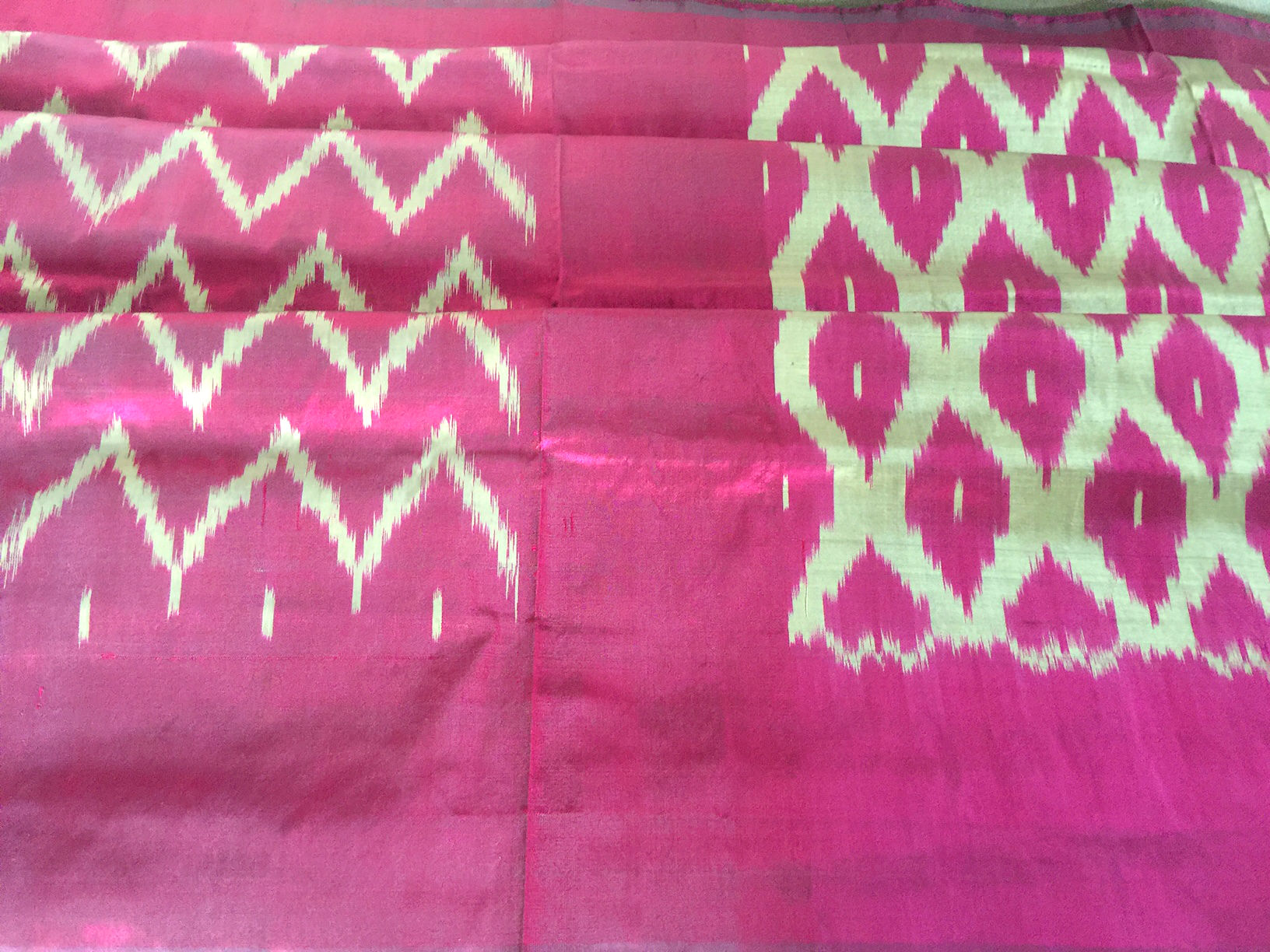 Pochampalli Silk Majenta and Cream