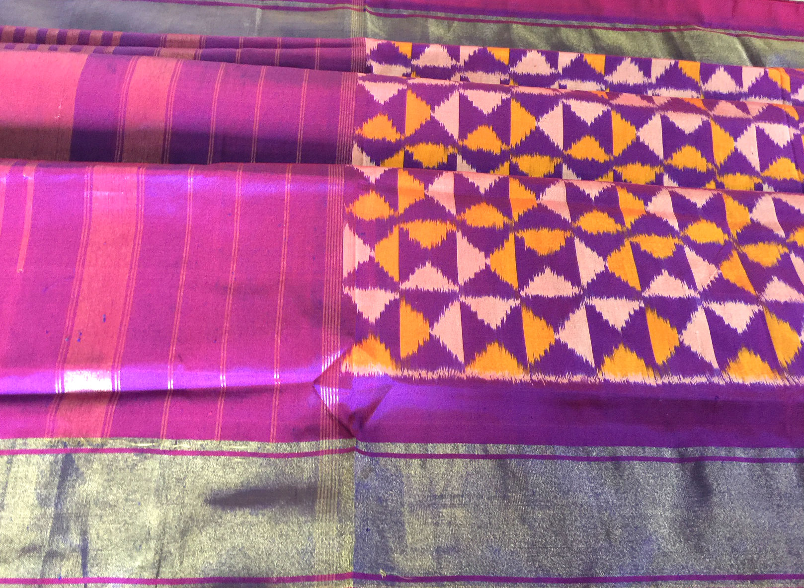 Pochampalli Silk Purple Yellow with Zari Borders